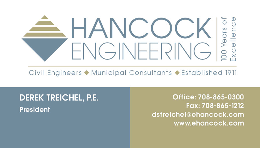 Front of Hancock Engineering business card